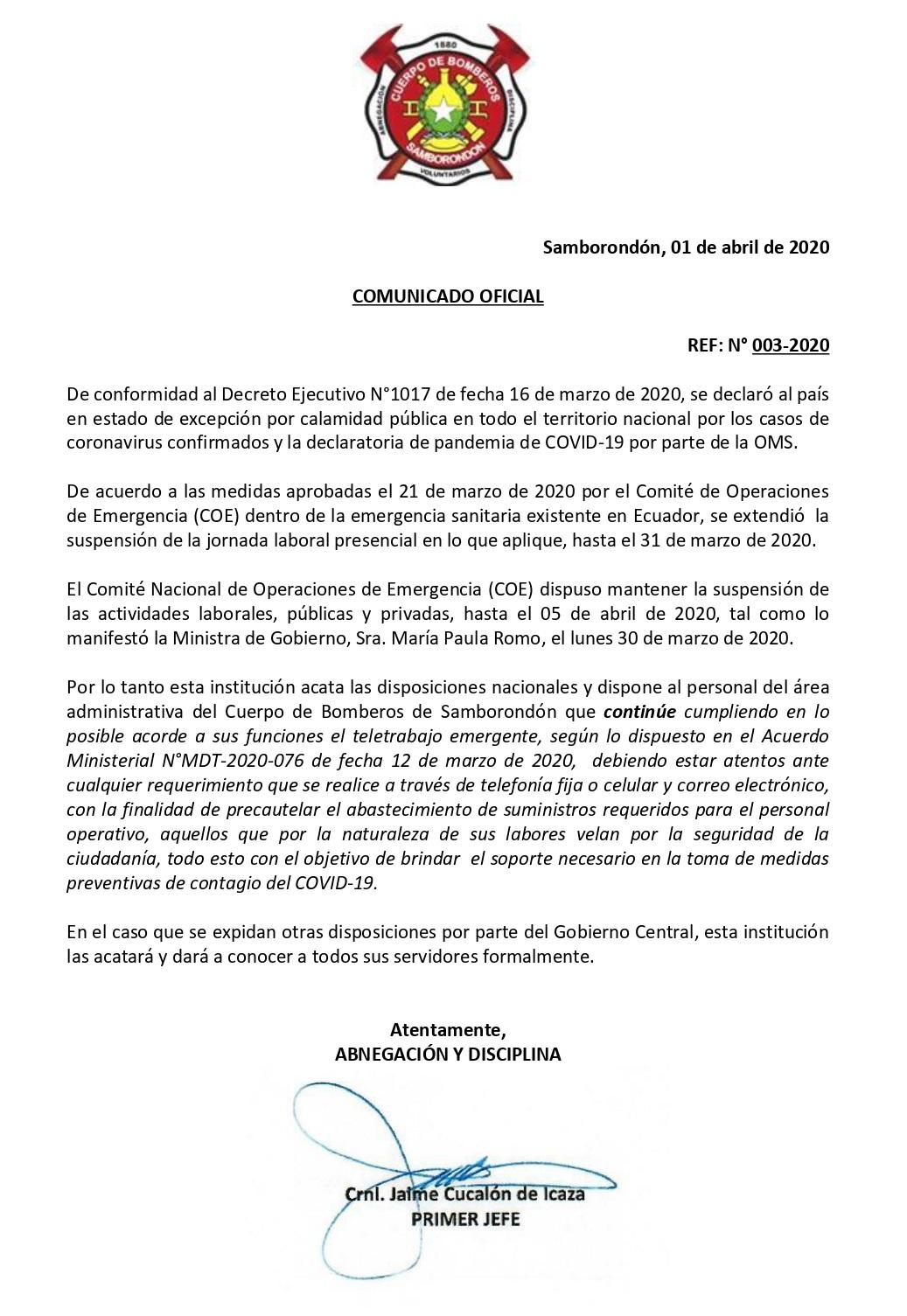 Comunicado 3 Extensión de Teletrabajo