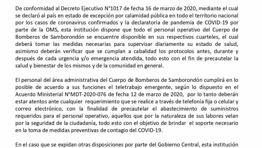 Comunicado Oficial por COVID-19